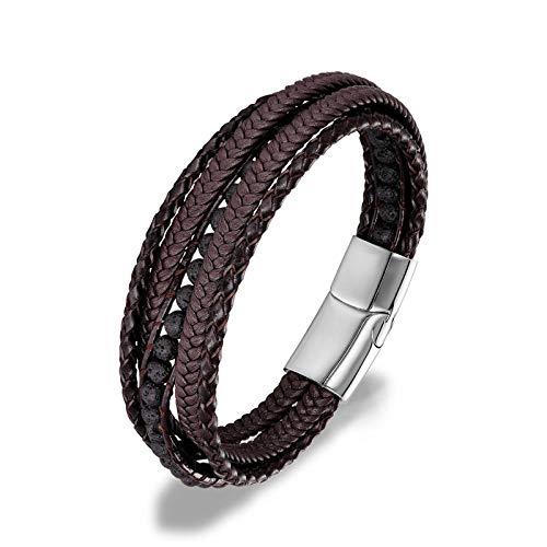 Armband Lederarmbänder 6Mm Tiger Eyes Stone Wrap Armbänder Gewebtes mehrschichtiges Boho-Armband Handgefertigter Schmuck Magnetverschluss Lavastone