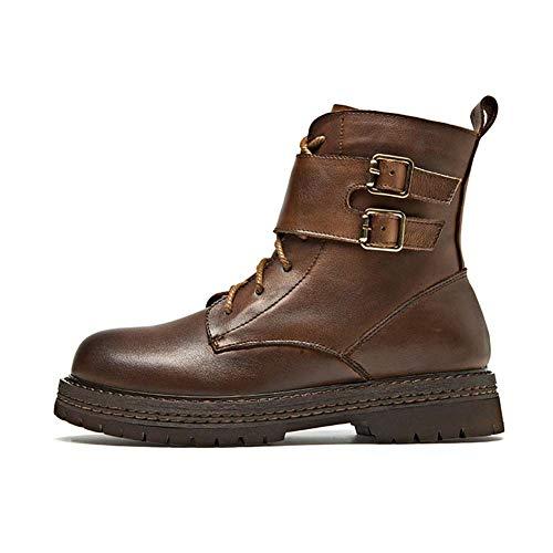Shoes-YRQ Dames werken leer waterdicht enkellaarzen casual lace up short-vechtlaarzen voor meisjes 39 bruin