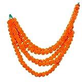 R and D Handicrafts Marigold Garland Artificial Flowers - Indian Wedding, Diwali, Cinco de Mayo, Dia de Los Muertos, Housewarming, Baby Shower Fake Flower Decoration - 4Ft, 5 Strands - Dark Orange