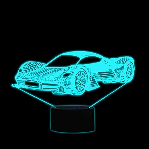 Coolzon Lámpara 3D Ilusión Luz Nocturna LED para Bebe Infantil Niños, Luz de Noche Lampara 3d de Noche 7 Colores Cambio Deco Lámpara de Escritorio Táctil con Cable USB, Coche
