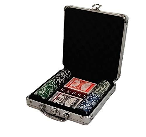 Maletín Poker Profesional con tapete 100 fichas 11,5 Gramos. Maletín de Aluminio. Set Profesional de póker con fichas.Fichas marcadas con su Valor. Black Jack, Holdem Poker