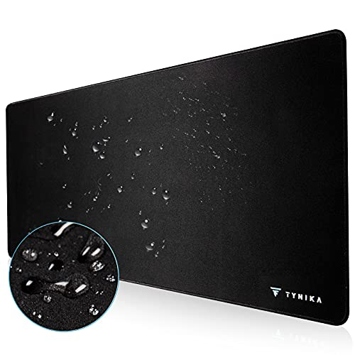 TYNIKA Gaming Mouse Pad, Extended Mouse Pad with Non-Slip Rubber Base and Anti Fray Stitched Edges, XXL Waterproof Mouse Mat for Working & Gaming, Office & Home, 31.5' x 11.8' x 0.12' ,Black