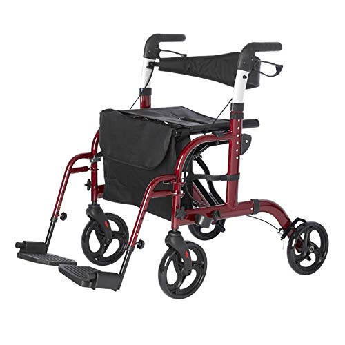 Lifestyle Mobility Aids Lightweight Folding Translator - 2 in 1 Rollator and Transport Chairs (Red)