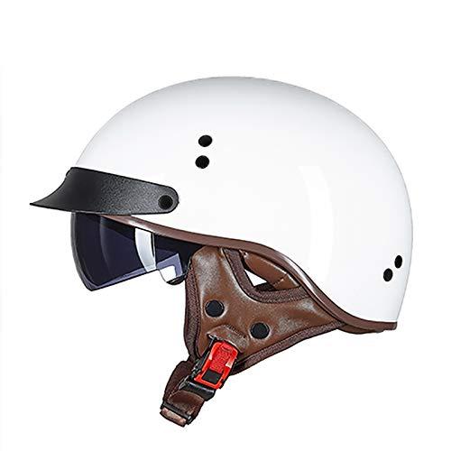 Cascos De Moto,Casco Moto Abierto, Medio Casco De Motocicleta Retro,ECE Homologado Retro Half Moto Cascos Helmet De La Bici del Casco del Viaje Crucero Bicicleta C,XXL(61~62cm)