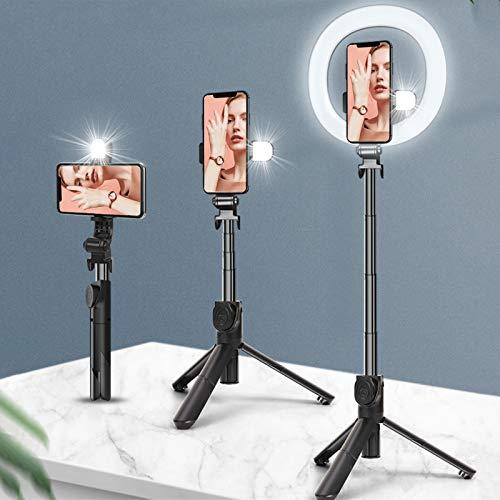 LMIX Luce ad Anello LED con Treppiede e Supporto, Selfie Stick Bluetooth Multifunzione con Due Luci di Riempimento, 3 Colori Telecomando Regolabile, per Trucco Fotografia Live Youtube TikTok Video