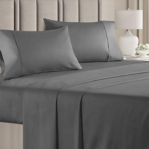 100% Cotton Split King Sheets Dark Grey (4pc) Silky Smooth, Cooling 400 Thread Count Long Staple Combed Cotton Split King Sheet Set – 400TC High Thread Count Split King Sheets - Split King Bed Sheets