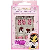 Minkissy uñas postizas de múltiples patrones para niños prensa colorida en las uñas cubierta completa kits de uñas postizas cortas gran regalo de navidad para niños niñas (patrón 8)