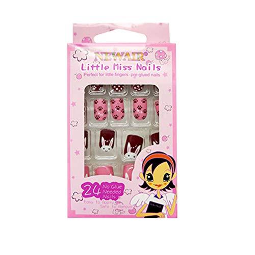 Minkissy uñas postizas de múltiples patrones para niños prensa colorida en las uñas...