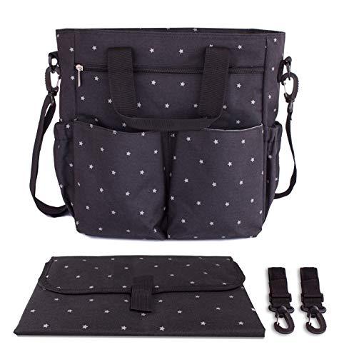Bolso para carrito de bebé negro. Bolso cambiador para cochecito. Incluye cambiador a juego, ganchos universales y correa acolchada para el hombro. Tamaño mediano ideal para el día a día.