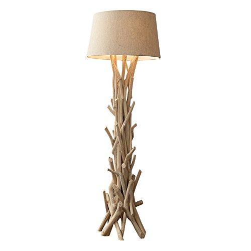 *Design Treibholz Stehlampe WILD NATURE 155 cm sand mit hochwertigem Natur Leinen Schirm Massivholz Stehleuchte Lampenschirm aus Leinenstoff*
