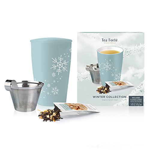 Tea Forte Loose Tea Starter Set, Set with Kati Cup Infuser Steeping Cup and Box of 10 Single Steeps Assorted Variety Tea Pouches, Blue Snowflake