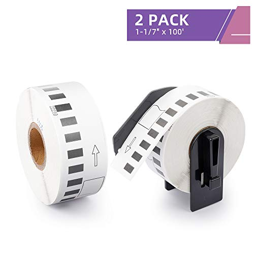 "Fimax Compatible Label Replacement for DK-2210 Continuous Labels 1-1/7"" x 100' (29mmx30.48m) to use with Brother QL-500 QL-570 QL-700 QL-800 Label Printers, 2 Rolls + 1 Reusable Frame"