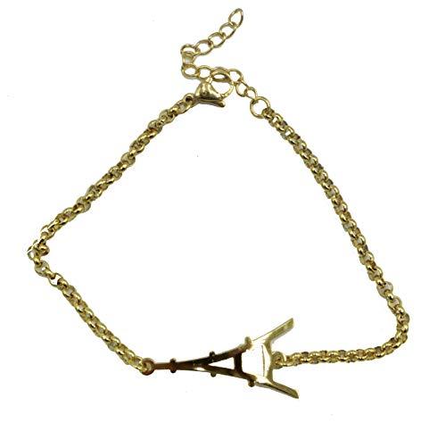 Pulsera ajustable de acero inoxidable de la Torre Eiffel, de la Torre Eiffel, chapada en oro, de acero inoxidable