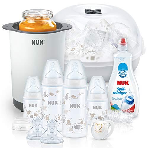 NUK Perfect Start Plus Babyflaschen Set mit Babyflaschen (x4) + Micro Express Plus Mikrowellen Sterilisator + Spülmittel für Babyflaschen und Sauger + Thermo 3 in 1 Flaschenwärmer