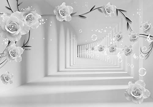 wandmotiv24 Fototapete grau Blumen, XXL 400 x 280 cm - 8 Teile, Fototapeten, Wandbild, Motivtapeten, Vlies-Tapeten, Tunnel, Rosen, Ranken M3570