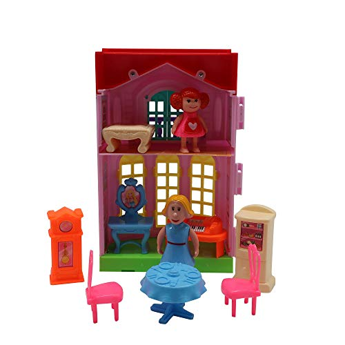 Forest & Twelfth Kids Doll House for Little Girls 3 Yrs Old with Accessories, Cute Playset, Compact, Easy Carrying Portable Dollhouse, Pretend Play for Girls, Safe, Perfect Birthday (Mom & Daughter)
