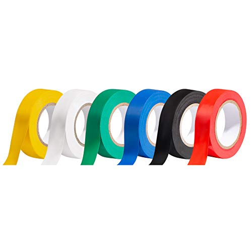 YI LIN 6 Rolls Insulation Tapes,Multi-Colored Electrical Tape,3/4 Inch x 60 Feet,Voltage Level 600V Dustproof, Adhesive for General Power Circuit Wiring