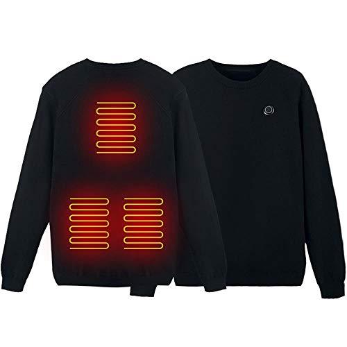 shine future Heizjacke Herren,USB Elektrisch Wärmeweste,Beheizter Pullover 3 Stufen der Temperatureinstellung,Beheizte Strickpullover Sweatshirt für Bergsteigertour Reiten Outdoor (M)