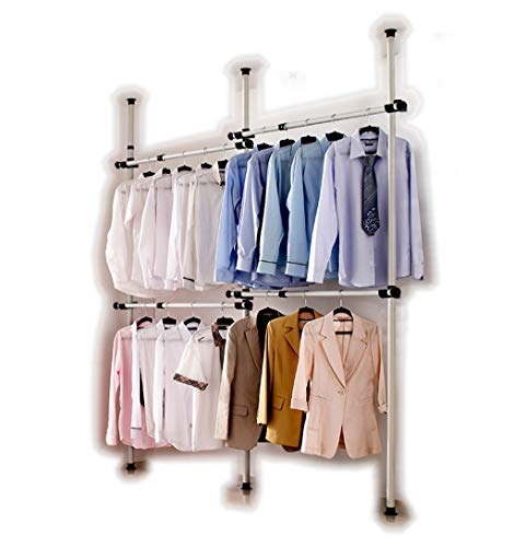 Heavy Duty Telescopic Wardrobe Organizer, Movable Hanging Rail, Garment Rack, DIY By Hand, No Damage to Walls or Ceiling, Fit High Ceiling Up to 3.2m, Clothes Wardrobe 3 Poles 4 Bars, [3204]