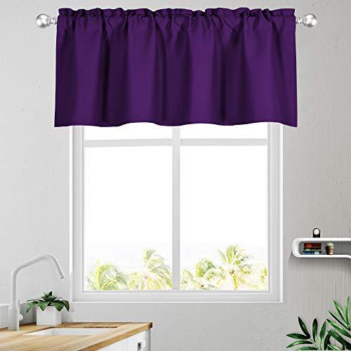 KEQIAOSUOCAI Purple Bedroom Window Valances 18L x 52W Rod Pocket Blackout Valance for Kitchen Bathroom Basement 1 Panel
