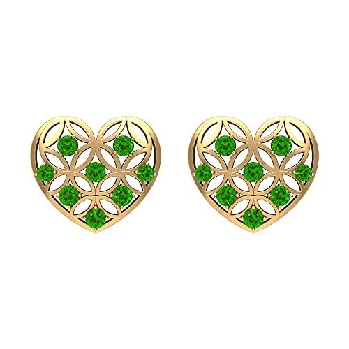 Rosec Jewels 14 quilates oro amarillo redonda Green Creado en laboratorio de tsavorita