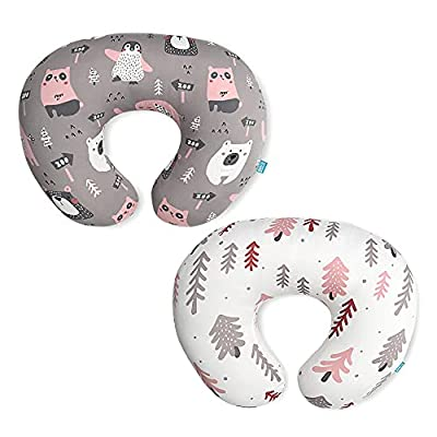 Stretchy Nursing Pillow Covers-2 Pack Nursing Pillow Slipcovers for Breastfeeding Moms,Ultra Soft Snug Fits On Infant Nursing Pillow,Jungle Animals by BROLEX