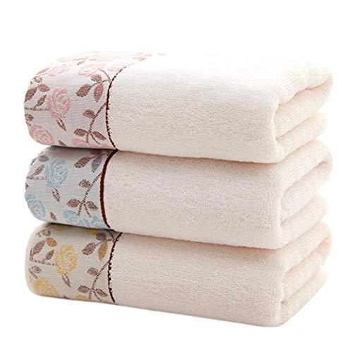 Beapet Toalla de Toalla de Toalla de 3 unids Bordado Floral Impreso Ultra Suave algodón Toalla de Mano rápidamente Seca Toallas para Adultos