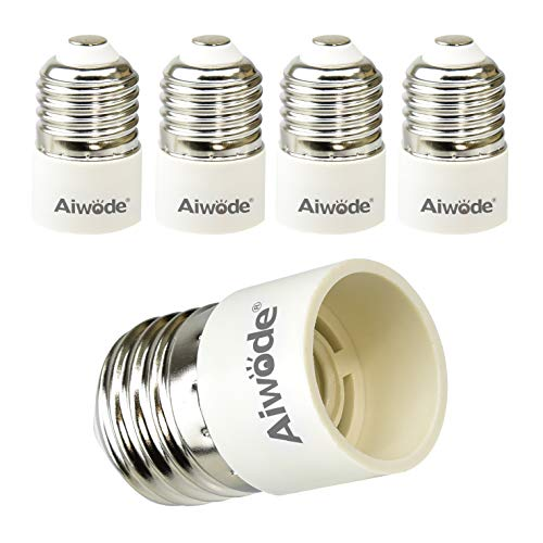 Aiwode E27 auf E14 Sockel Konverter,Lampensockel Adapter Konverter für LED,Glüh und CFL Lampen,Maximale Leistung 200W,0~250V,120 Grad Hitzebeständig,5er-Pack.