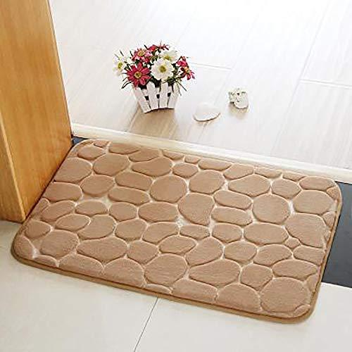 WANGF Badmat, antislip, modern, voor woonkamer, keuken, douchebak, zacht, absorberend, antislip, beige (40 x 60 cm)