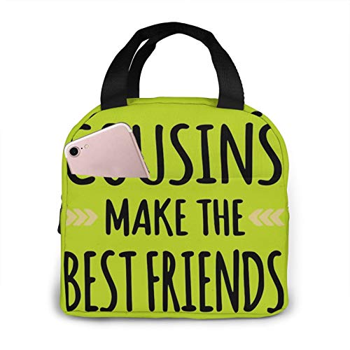 Cousins Make The Best Friends Reusable Portable Insulated Cooler Lunch Bag With Aluminum Foil,Lunch Boxes Oxford Cloth Portable Lunch Tote Handbag For Outdoor Activities,Work Or School