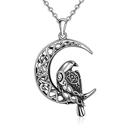 Sterling Silver Raven Necklace Celtic Crescent Moon Viking Necklaces for Men Bird Women Pentagram Pentacle Animal Jewelry Irish Norse Odin's Raven