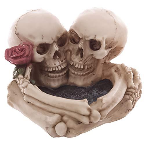 KESYOO Cenicero de Cráneo Humano Cenicero de Resina Decoraciones de Halloween de Miedo Decoración de Habitación Gótica Regalos Novedad Bandeja de Ceniza de Cigarro para Fumadores de