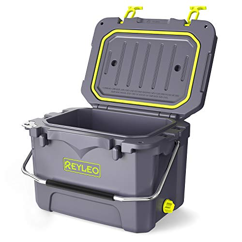 REYLEO Cooler, Rotomolded Cooler 21-Quart, 30-Can, 3-Day Ice Retention, Heavy Duty Ice Chest, Built-in Bottle Opener, Cup Holder, Fishing Ruler, Drain Plug - Gray