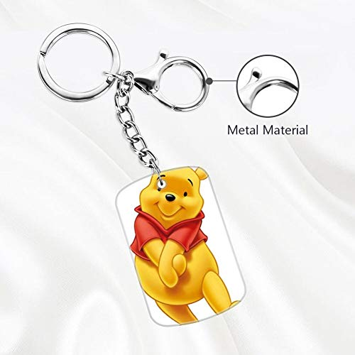 DISNEY COLLECTION Bear Pooh Winnie The 2 Keychain Silver Handbag Purse Hanging Charms with Carabiner Clip Best Gift for Women Girls Men Husband Wife