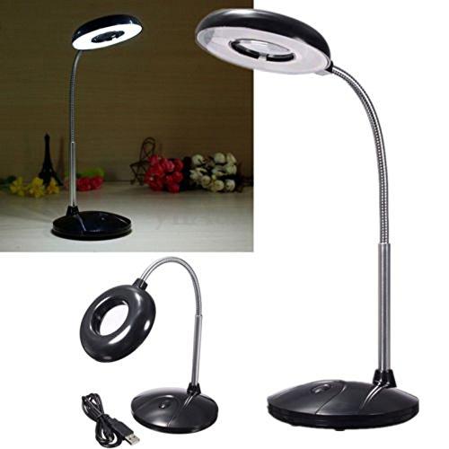 Bangweier - Lámpara LED de escritorio de lectura USB con 3 aumentos de cristal USB/lámpara de batería