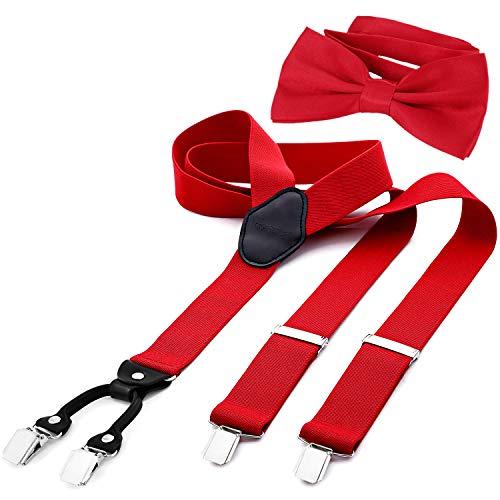 DonDon Bretelle Uomo larghezza 3,5 cm a Y elastiche e regolabili in 2er set con papillon coordinato 12 x 6 cm - Rosso