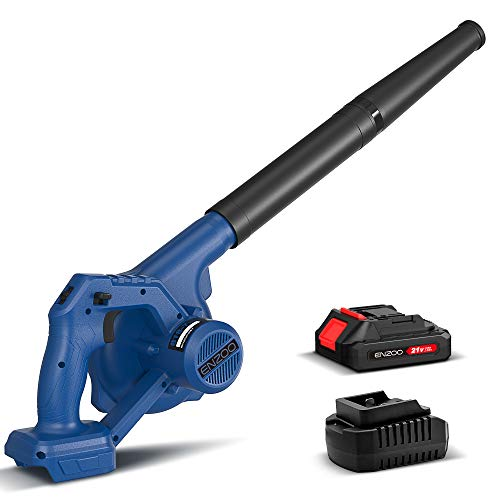 ENZOO Cordless Leaf Blower/Dust Vacuum 2in1 Designed for Light Yard Work and Hard Surface Sweeping Variable Speed MAX 20V Includes 20Ah LithiumIon Battery and Charger Blue