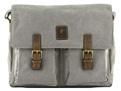 Cactus Canvas and Leather Large Satchel with Double Pockets 809-81 (Grey)