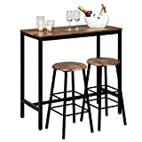 VINGLI Pub Table Set 3 Piece Bar Table and Chairs Set for 2, Kitchen Pub Table with 2 Bar Stools,3pcs Industrial Counter Height Dining Table Set for Home