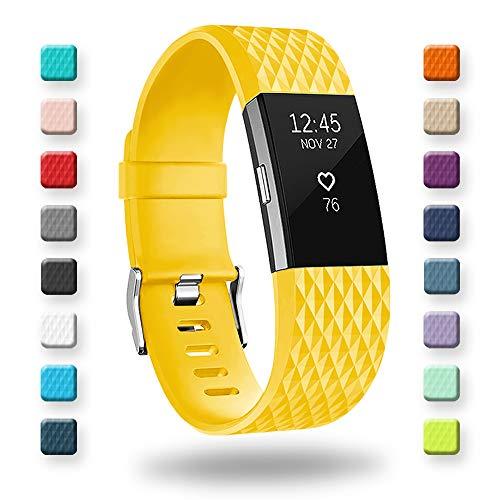 Adepoy Kompatabel mit Fitbit Charge 2 Armband, Verstellbare Weiches Silikon Sport Ersatzarmband für Charge 2 (Gelb, Groß)