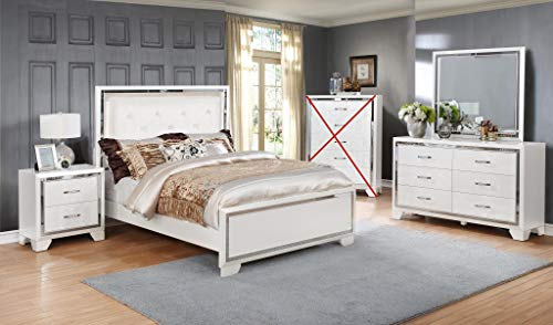 GTU Furniture Contemporary White and Silver Style Wooden Queen Bedroom Set (Queen Size Bed, 4Pc)