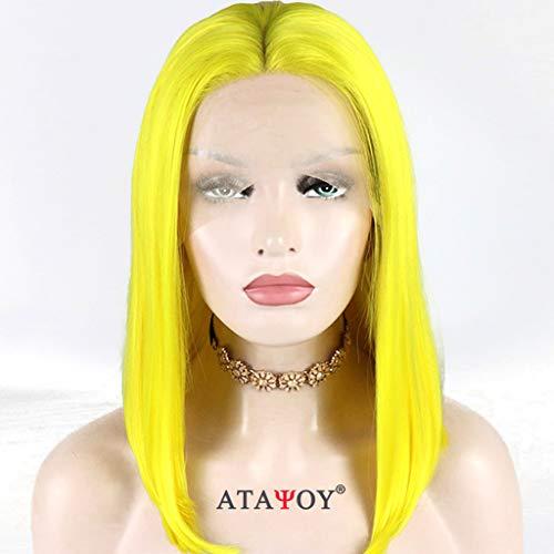 ATAYOU® Perruque courte et raide jaune synthétique avec bonnet en dentelle pour femme + 1 bonnet de perruque