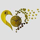 Sinzong DIY Reloj De Pared Arte Diyclock Reloj De Pared Sala De Estar Cuarzo Relojes Acrílicos Espejo Reloj Seguro Decoración del Hogar Niños Oro