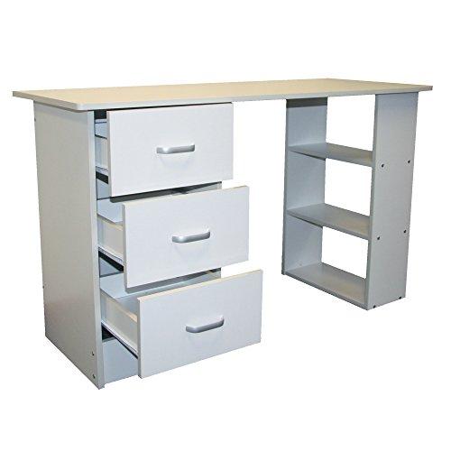 Redstone Schreibtisch Computertisch Bürotisch 3 Schubladen 3 Regale (Weiß)