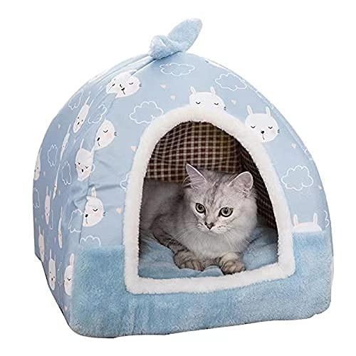 Cama de la cueva para mascotas para gatos / perros pequeños con tienda de iglú interior grande, casa de gato 2 en 1 con almohada de cojín lavable removible, cama suave al aire libre en cama mediana pa