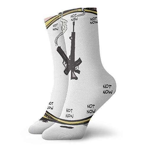 BJAMAJ Unisex Socken Sniper Gun Wecker Interessante Polyester Crew Socken Erwachsene Socken Baumwolle