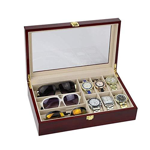 XUSHEN-HU Caja de exhibición del reloj de 6 piezas caja de reloj y 3 piezas de almacenamiento de gafas de cuero sintético Combo caja de joyería