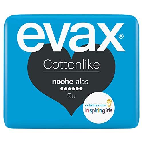 EVAX Cottonlike Noche Compresas Con Alas, 9 unidades
