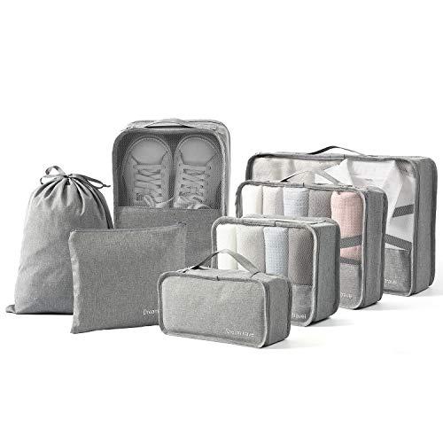BIMNOOT Packing Cubes 7Pcs Travel Luggage Packing Organizers Set with Laundry Bag amp Shoe Bag Grey