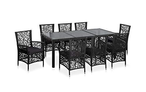 Zerone - Set di mobili da pranzo da esterno, in resina intrecciata, con cuscino rimovibile, 1 tavolo e 8 sedie